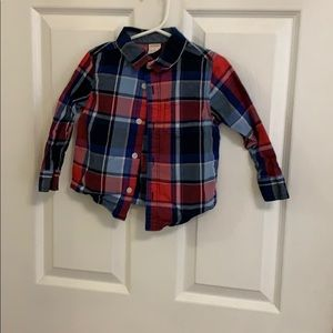 Boys button up plaid shirt